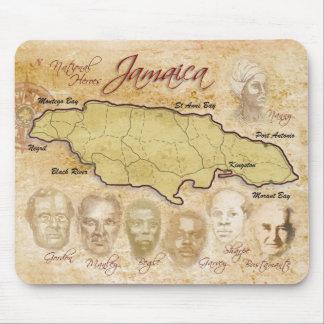 Mapa de Jamaica con los héroes nacionales Tapete De Ratón