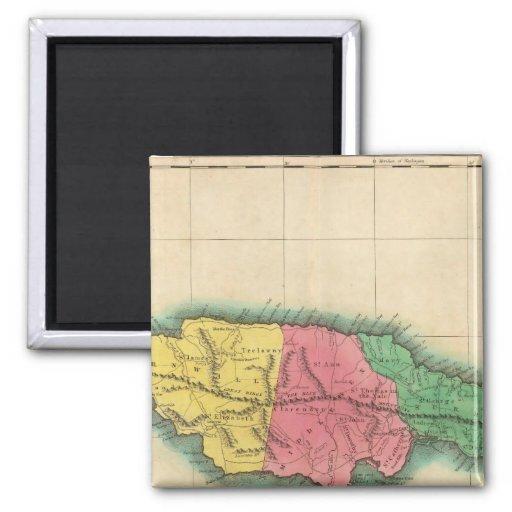 Mapa de Jamaica Imán Cuadrado