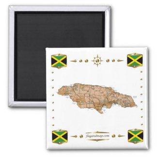 Mapa de Jamaica + Imán de las banderas