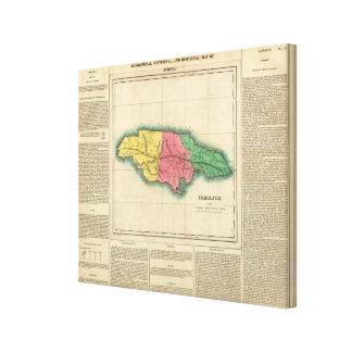 Mapa de Jamaica Impresión En Lienzo Estirada
