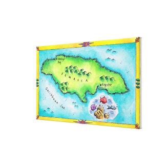Mapa de Jamaica Lienzo Envuelto Para Galerias