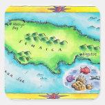 Mapa de Jamaica Calcomanía Cuadradas Personalizadas