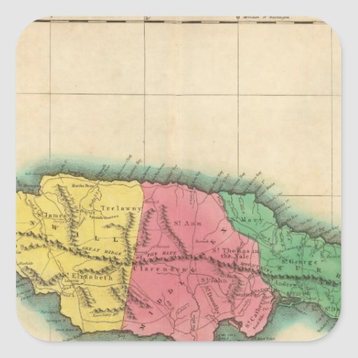 Mapa de Jamaica Calcomanías Cuadradas Personalizadas