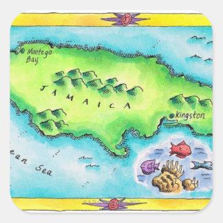Mapa de Jamaica Pegatina Cuadrada
