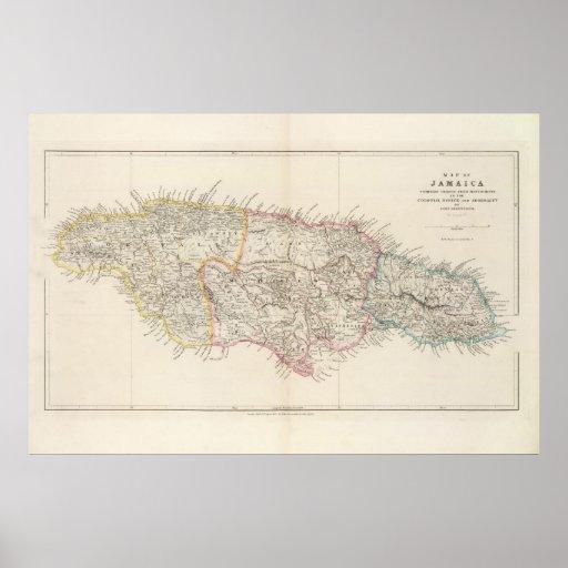 Mapa de Jamaica Póster