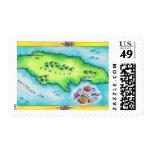 Mapa de Jamaica Sello Postal