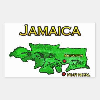 Mapa de Jamaica (verde-amarillo-negro) Pegatina Rectangular