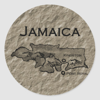 Mapa de Jamaica (vintage) Pegatina Redonda
