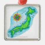 Mapa de Japón 2 Adorno Cuadrado Plateado