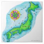 Mapa de Japón 2 Azulejo Cuadrado Grande