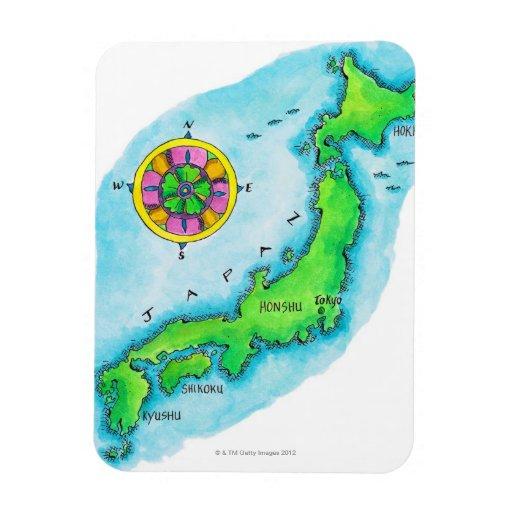 Mapa de Japón 2 Imanes Flexibles