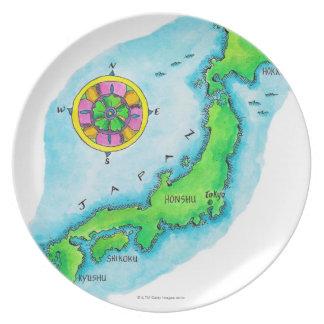 Mapa de Japón 2 Platos
