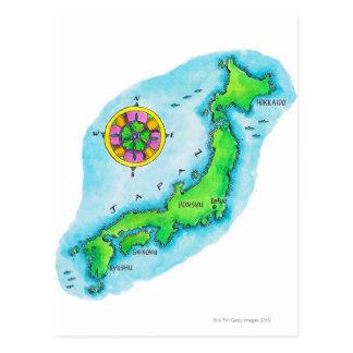 Mapa de Japón 2 Postal