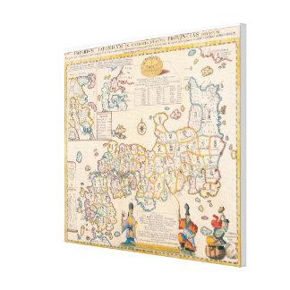 Mapa de Japón 3 Impresión En Lienzo