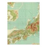 Mapa de Japón con las rutas de envío Postales