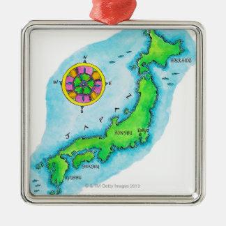 Mapa de Japón Adorno Cuadrado Plateado
