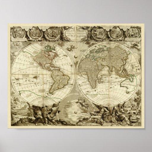Mapa de Jean Baptiste Nolin 1708 del mundo Póster