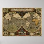 Mapa de Jodocus Hondius 1595 del mundo Póster