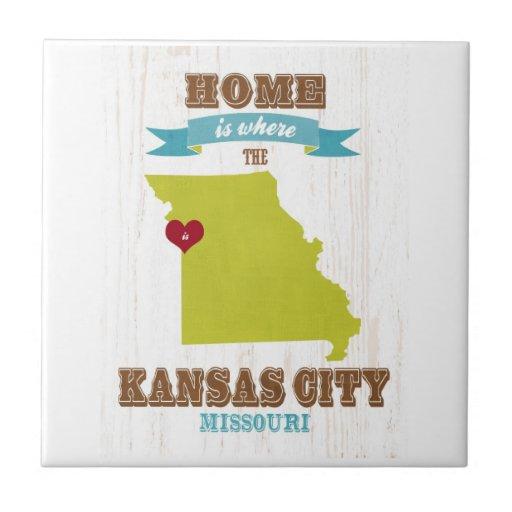 Mapa de Kansas City, Missouri - casero es donde Azulejos Ceramicos