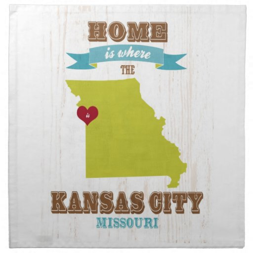 Mapa de Kansas City, Missouri - casero es donde Servilleta Imprimida