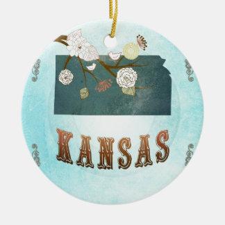 Mapa de Kansas con los pájaros preciosos Ornamento Para Reyes Magos
