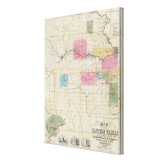 Mapa de Kansas del este Impresión En Lona Estirada