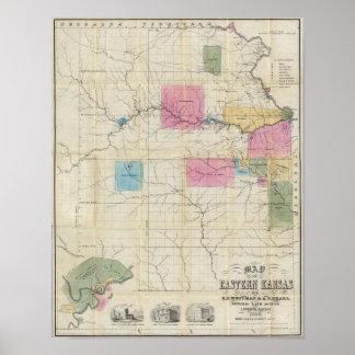 Mapa de Kansas del este Poster