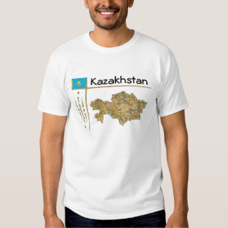 Mapa de Kazajistán + Bandera + Camiseta del título Poleras