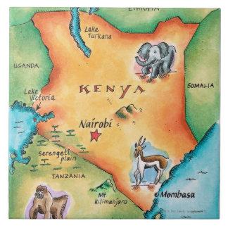 Mapa de Kenia Azulejo Cuadrado Grande