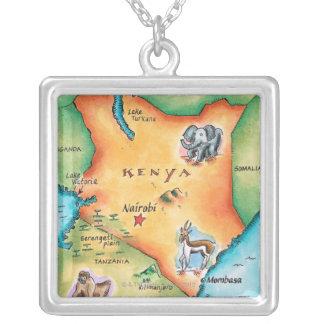 Mapa de Kenia Collar Plateado