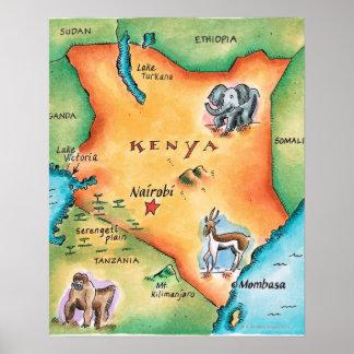 Mapa de Kenia Impresiones