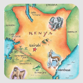 Mapa de Kenia Pegatinas Cuadradases