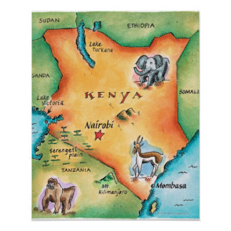 Mapa de Kenia Póster