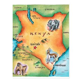 Mapa de Kenia Tarjetas Postales