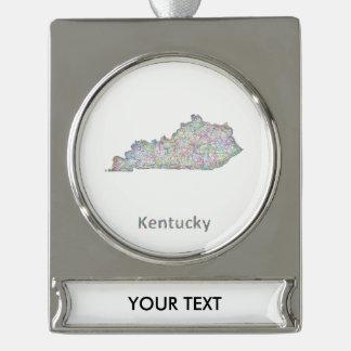 Mapa de Kentucky Adornos Navideños Plateados
