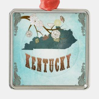 Mapa de Kentucky con los pájaros preciosos Adorno Cuadrado Plateado
