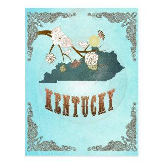 Mapa de Kentucky con los pájaros preciosos Postal