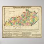 Mapa de Kentucky Póster