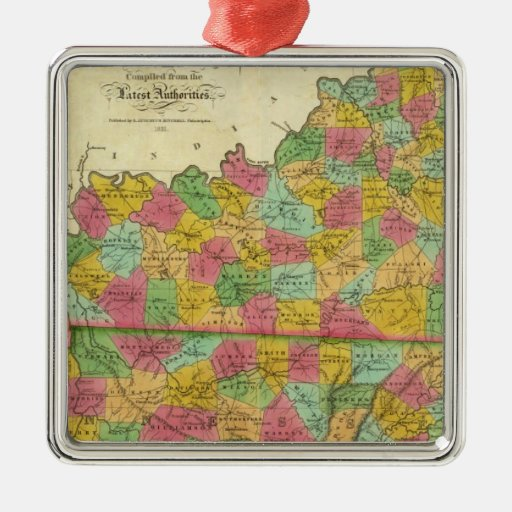 Mapa de Kentucky y de Tennessee Adorno Navideño Cuadrado De Metal