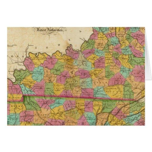Mapa de Kentucky y de Tennessee Felicitacion