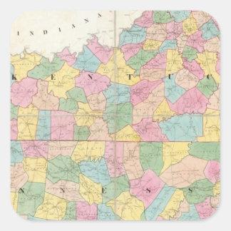 Mapa de Kentucky y de Tennessee Pegatina Cuadrada