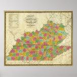 Mapa de Kentucky y de Tennessee Póster