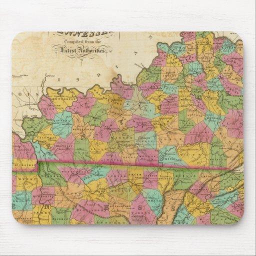Mapa de Kentucky y de Tennessee Alfombrillas De Ratón