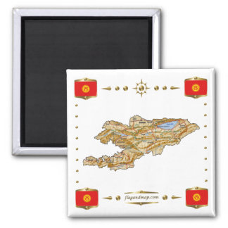 Mapa de Kirguistán + Imán de las banderas