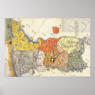 Mapa de KoreaPanoramic del norte y sur Posters