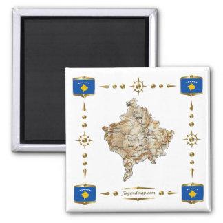 Mapa de Kosovo + Imán de las banderas