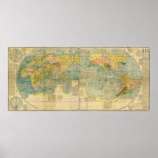 Mapa de Kunyu Wanguo Quantu de Matteo Ricci Póster