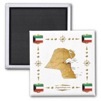 Mapa de Kuwait + Imán de las banderas