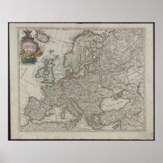 Mapa de la academia de 1745 rusos de Europa Impresiones