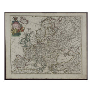 Mapa de la academia de 1745 rusos de Europa Póster